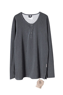 AWESOME IMAGINATIONWASHED COTTON HENLEY NECK T-SHIRTS  charcoal3차 리오더.