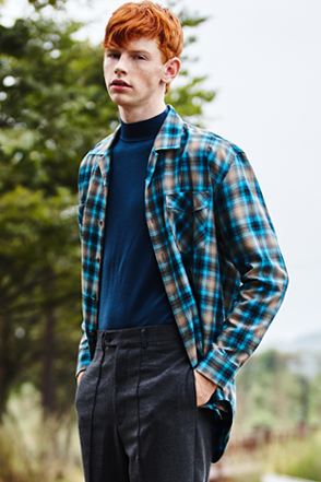 AWESOME IMAGINATION TAILORED LOOSE CHECK SHIRTS Blue
